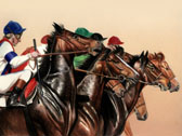 Thoroughbred, Equine Art - Breaking from the Gate