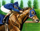 Thoroughbred, Equine Art - Chestnut and Blue