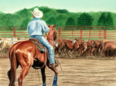 Western, Equine Art - Looking for Fours