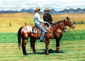Western, Equine Art - Two Appys
