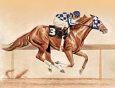 Thoroughbred, Equine Art - Secretariat on the Track